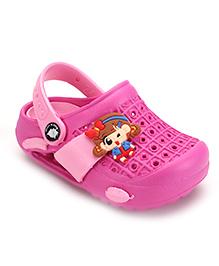 Cute Walk by Babyhug Clogs With Back Strap Cartoon Applique - Pink