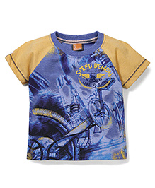 Little Kangaroos Half Sleeves T-Shirt Cycle Print - Yellow Blue