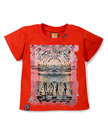 Little Kangaroos Half Sleeves T-Shirt Surf Culture Print - Orange
