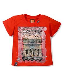 Little Kangaroos Half Sleeves T-Shirt Surf Culture Print - Orange