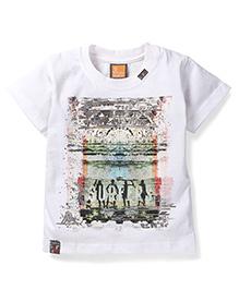 Little Kangaroos Half Sleeves T-Shirt Surf Culture Print - White