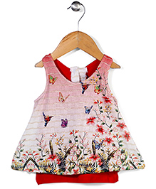 Little Kangaroos Sleeveless Top Floral Print - Red And Off White