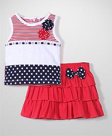 Little Kangaroos Sleeveless Top And Skirt - Red & White
