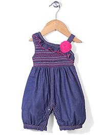 Little Kangaroos Asymmetrical Neck Jumpsuit Floral Applique - Pink & Navy