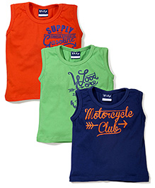 Play by Little Kangaroos Sleeveless T-Shirts Set of 3 Multi Print - Orange Green Blue