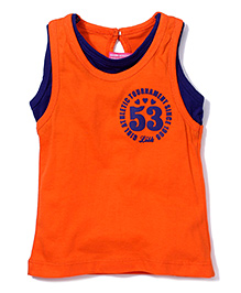 Little Kangaroos Sleeveless Top Numeric 53 Print - Orange