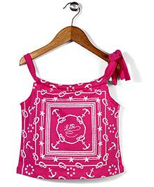 Play by Little Kangaroos Singlet Top Nautical Print - Pink