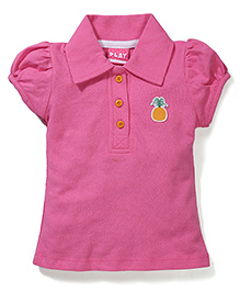 Play by Little Kangaroos Half Sleeves Top Pineapple Patch - Pink