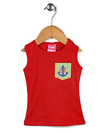 Play By Little Kangaroos Sleeveless Top Anchor Print - Red