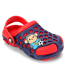 Cute Walk by Babyhug Clogs With Back Strap Football Applique - Red & Navy