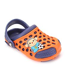 Cute Walk by Babyhug Clogs With Back Strap Football Applique - Navy & Orange