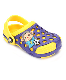 Cute Walk by Babyhug Clogs With Back Strap Football Applique - Yellow & Purple
