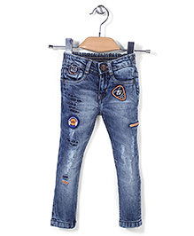 Vitamins Denim Full Length Jeans Rock Embroidery - Blue