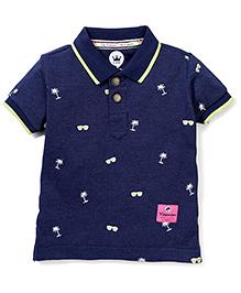 Vitamins Half Sleeves T-Shirt Coconut Tree Embroidery - Navy