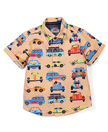 Vitamins Half Sleeves Shirt Car Print - Fawn