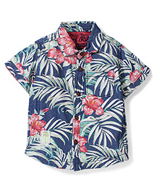 Vitamins Half Sleeves Shirt Floral Print - Blue
