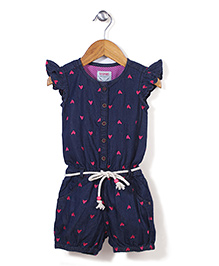 Vitamins Flutter Sleeves Jumpsuit Hear Embroidery - Navy Pink