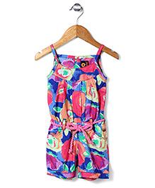 Vitamins Singlet Jumpsuit With Drawstring Floral Print - Multicolour