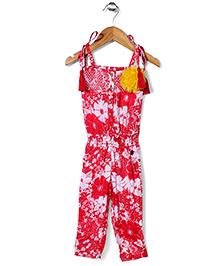 Vitamins Singlet Jumpsuit Floral Applique - Red