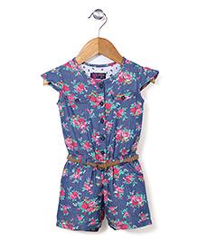 Vitamins Cap Sleeves Jumpsuit With Belt Floral Print - Blue