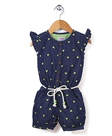Vitamins Flutter Sleeves Jumpsuit Hear Embroidery - Blue Green
