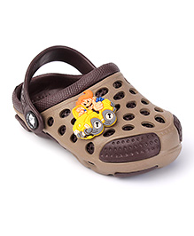 Cute Walk by Babyhug Clogs With Back Strap Vehicle Motif - Brown