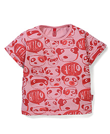 Spark Half Sleeves T-Shirt Teddy Print - Red