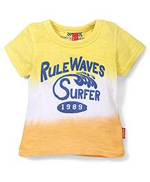 Spark Rule Waves Surfer Half Sleeves T-Shirt - Yellow