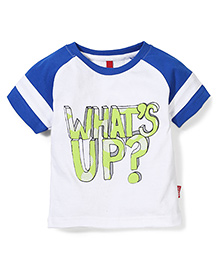 Spark Half Sleeves T-Shirt What's Up Print - White And Blue