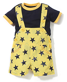 Spark Star Print Dungaree With T-Shirt - Yellow & Navy