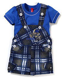 Spark Check Dungaree With T-Shirt Rugby Print - Royal Blue & Multi Color