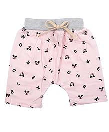 Kiwi Cotton Blended Shorts Alphabets Print - Pink