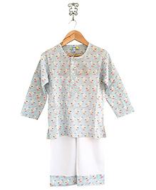 Frangipani Kids Duck Pond Print Pajama & T-Shirt - Aqua Green & White