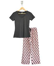 Frangipani Kids Cat In The Hat Print Top & Pajama Set - Dark Grey & Multicolour