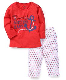 Babyhug Full Sleeves T-Shirt And Pyjama Set Anchor Print - Red White