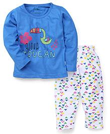 Babyhug Full Sleeves T-Shirt And Pyjama Set Aloha Print - Blue White