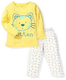 Babyhug Full Sleeves Night Suit Kitten Print - Yellow & White