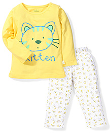 Babyhug Full Sleeves Night Suit Kitten Print - Yellow & White
