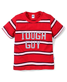 Teddy Half Sleeves Tough Guys On Stripe Print T-Shirt - Red & White