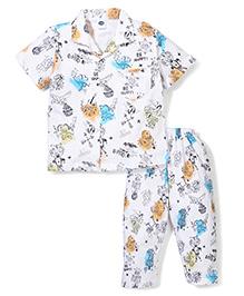 Teddy Multi Print Collar Neck Top And Pajama Night Suit - White
