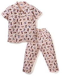Teddy Half Sleeves Night Suit Circus Print - Peach
