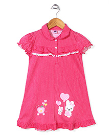 Teddy Collar Neck Dotted Short Sleeves Nighty- Dark Pink