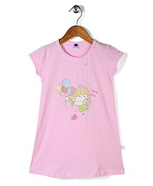 Teddy I Love You Print Short Sleeves Nighty - Light Pink