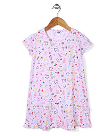 Teddy Multi Print Short Sleeves Nighty With Frilled Hem - Light Pink