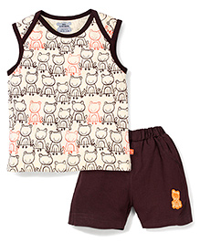 Mini Taurus Envelope Shoulder Froggy Print T-Shirt & Shorts Set - Coffee & Cream