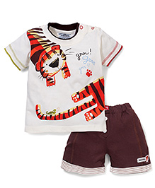 Mini Taurus Half Sleeves T-Shirt and Shorts Set Tiger Print - Cream And Coffee