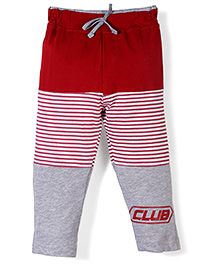 Oilo Kids Striped Leggings With Club Print - Red