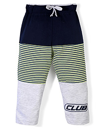 Oilo Kids Striped Leggings With Club Print - Navy