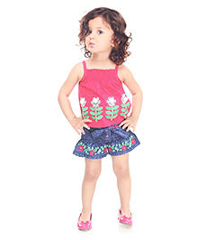 N - XT Embroidered Singlet Top And Denim Shorts With Sash Tie Belt - Pink And Blue