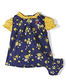 Wow Girl Sleeveless Printed Frock With Tee And Bloomer - Navy Blue And Golden
